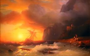 Picture sunset, storm, rocks, oil, salvation, painting, Aivazovsky Ivan, korablekrushenie, sea - sea