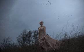 Picture girl, birds, the wind, dress, Aleah Michele, The side of a dying hill