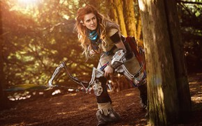 Wallpaper arrow, bow, cosplay, Horizon Zero Dawn, weapon, girl, hunter, red hairl, redhead, red, game