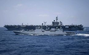 Picture the carrier, frigate, uss theodore roosevelt, ins tarkash