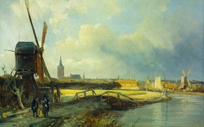 Wallpaper Cornelis Springer, The view of the Hague, oil, windmill, picture, canvas
