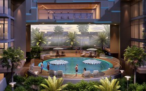 Picture stay, pool, MODERN APARTMENT, pool night, SWIMMING POOL