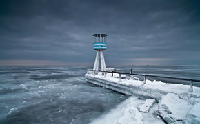 Wallpaper cold, shore, sea, lighthouse