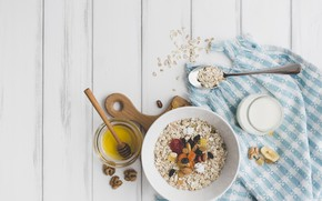 Picture Breakfast, nuts, honey, yogurt, dried fruits, oatmeal