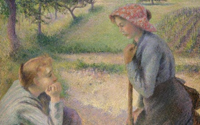 Wallpaper genre, Camille Pissarro, The Conversation Of Two Peasants, picture