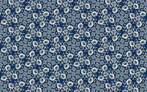 Picture retro, Wallpaper, pattern, flowers, blue background, vintage