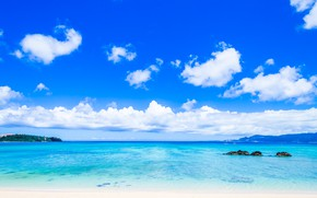Picture sea, beach, clouds, Nature, blue sky