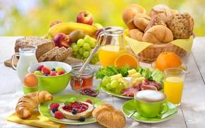 Wallpaper cakes, juice, milk, coffee, cheese, raspberry, buns, orange, honey, Breakfast, apples, grapes, jam