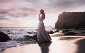 Picture sand, sea, wave, the sky, girl, clouds, landscape, reverie, nature, pose, fog, stones, mood, the …