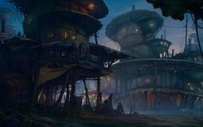 Picture people, buildings, residents, settlement, Fantasy settlement