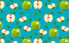 Wallpaper green, apples, fruit, halves