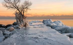 Wallpaper sea, shore, sunset, ice, winter