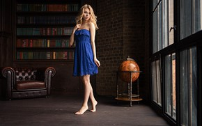 Picture pose, room, books, Windows, chair, barefoot, makeup, dress, hairstyle, blonde, legs, beauty, is, blue, globe, ...
