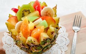 Picture Apple, orange, kiwi, pineapple, banana, dessert, fruit salad