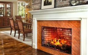 Wallpaper Villa, interior, fireplace, dining room