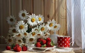 Wallpaper flowers, mug, table, red, curtain, plate, still life, chamomile, tablecloth, strawberry, berry