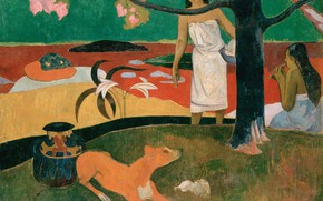 Wallpaper Eugene Henri Paul Gauguin, Paul Gauguin, picture, genre, Tahitian Pastorals