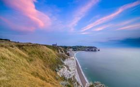 Picture sea, clouds, rocks, shore, France, Normandy