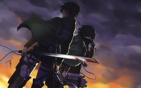 Picture blood, emblem, cloak, swords, military uniform, the gray sky, Shingeki no Kyojin, Mikasa Ackerman, Eren …