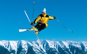 Wallpaper landscape, freestyle, stick, the sky, hat, ski, snow, Sunny, forest, skiing, glasses, jump, skier, athlete, ...