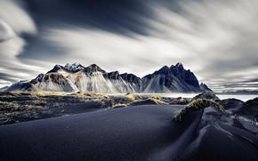 Picture blue, mountain, Vestrahorn Islande