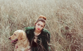 Picture field, girl, face, dog