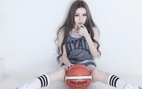 Wallpaper face, model, legs, basketball
