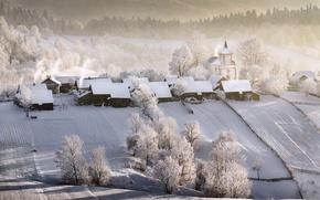 Picture winter, home, village, temple, Winter Tale