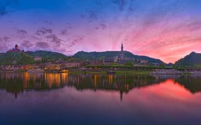Picture landscape, sunset, reflection, river, hills, Germany, Germany, Cochem, Cochem, the river Moselle, Moselle River, Rhineland-Palatinate, …