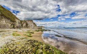 Picture sea, clouds, rocks, shore, Ireland, Ireland