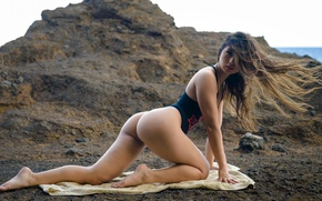 Wallpaper sea, swimsuit, nature, pose, stones, coast, model, towel, makeup, figure, brunette, hairstyle, body, Kat Sweets, ...