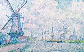 Picture landscape, picture, windmill, Paul Signac, pointillism, Canal of Overschie