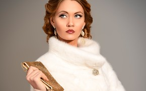 Picture decoration, style, background, portrait, earrings, makeup, hairstyle, coat, handbag, brown hair, beauty, white fur