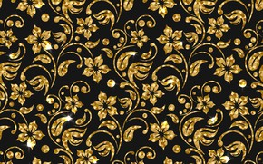 Wallpaper background, golden, texture, flowers