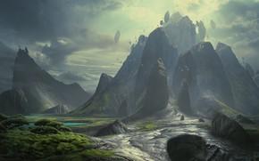 Wallpaper vegetation, Metal World, mountains, rocks