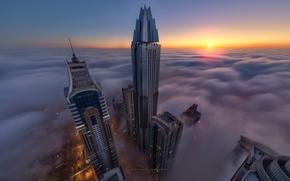 Picture the city, fog, Dubai, skyscrapers, UAE, the top