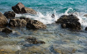 Picture sand, sea, wave, beach, summer, the sky, stones, shore, summer, beach, sea, blue, seascape, sand