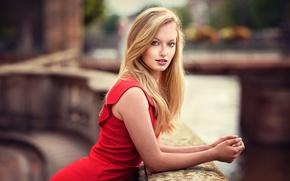 Picture portrait, blur, makeup, dress, hairstyle, blonde, beautiful, in red, bokeh, Lods Franck, Perrine