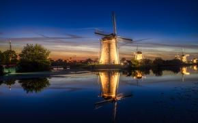 Picture light, night, the evening, Netherlands, Holland, windmills
