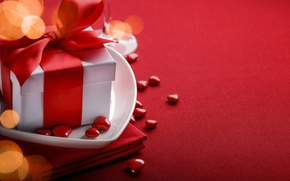 Picture red, love, background, romantic, hearts, bokeh, valentine's day, gift