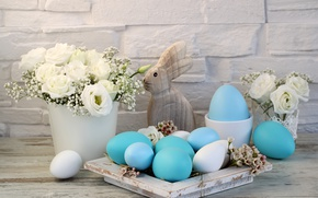 Wallpaper decoration, white roses, Easter, Easter, happy, the painted eggs, flowers, spring, holiday, eggs, flowers