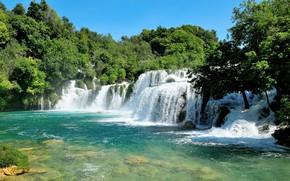 Picture nature, waterfalls, Croatia, the river Krka
