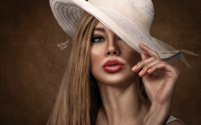 Picture girl, portrait, treatment, hat