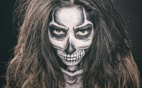 Picture style, look, skeleton, manicure, face, hair, makeup, radiation, girl, skull, eyes