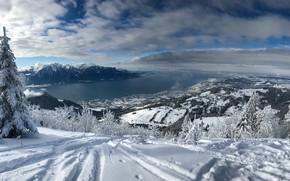 Wallpaper Lake Geneva, Switzerland, Alps, snow, mountains, winter, Switzerland, Montreux, Lake Geneva, Montreux, trees, panorama, lake, ...
