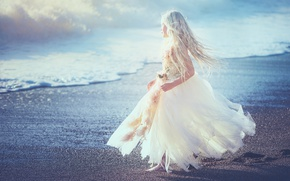 Picture shore, dress, girl, Edie Layland, Blue Heaven