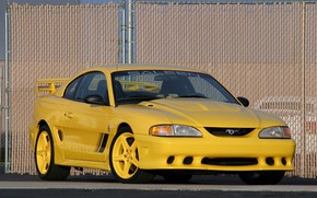 Picture auto, yellow, mesh, Mustang