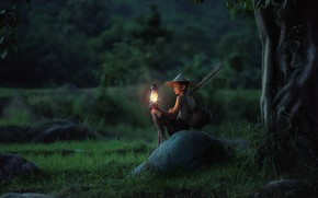 Picture Nature, Night, Boy, Lamp, Light