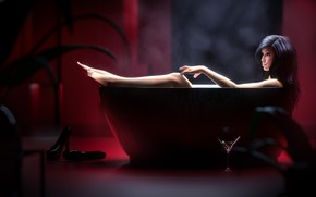 Picture woman, bathing, bath, asian girl