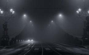 Picture machine, light, bridge, the city, lights, fog, black and white photo